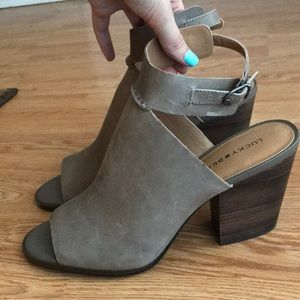Lucky Brand Open Toed Booties with Ankle Strap, 11